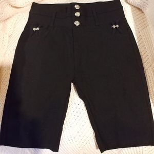 INDERO Black Fancy💎Stretch Long Shorts ✨ S